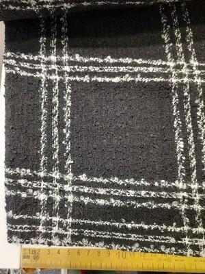 Wool Mix - Black & White Boucle