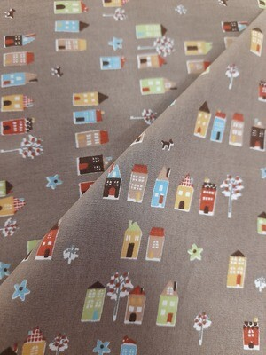 Cotton Poplin - Little Houses