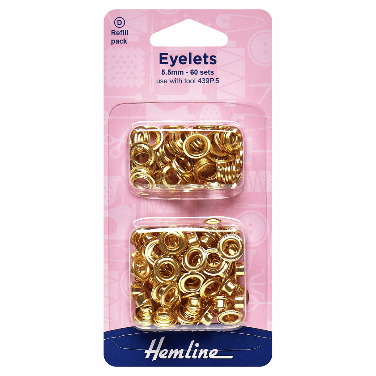Eyelets Refill Pack: 5.5mm: Gold/Brass: (D): 60 Pieces