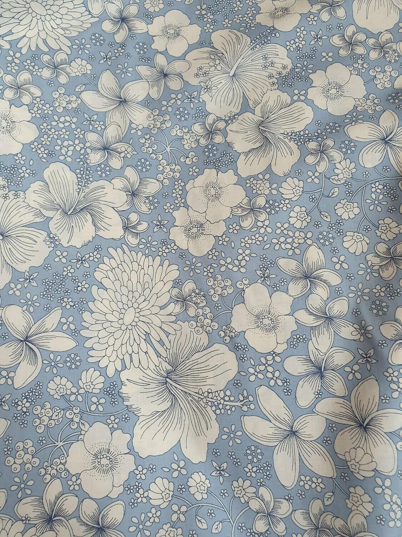 Pima Cotton Lawn - Pale blue, white flowers