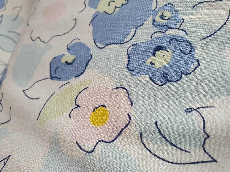 Linen/Cotton Mix Watercolour Flowers
