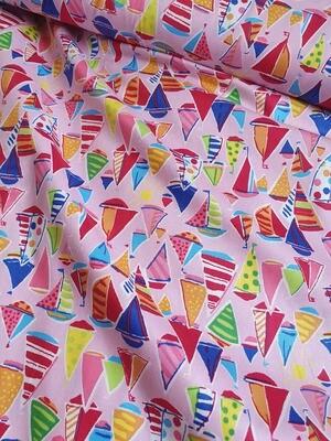 Bright Sailboats Cotton Poplin Pink 110cm