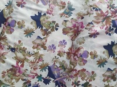 Cotton Lawn - watercolour flowers