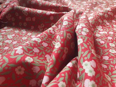 Cotton Poplin - Tiny Pink Flowers on red