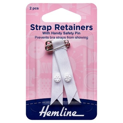 Shoulder Strap Retainer with Safety Pin: White