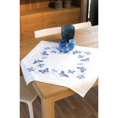 Cross Stitch Kit - Blue Butterflies tablecloth