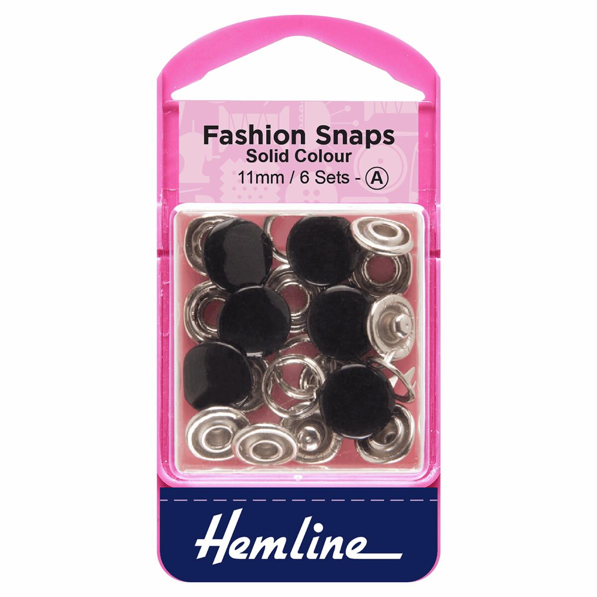 Fashion Snaps: Solid Top: 11mm: Black : 6 Sets