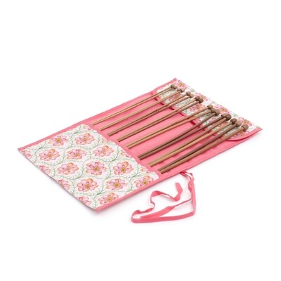 Wooden Knitting Pins in Cloth Roll