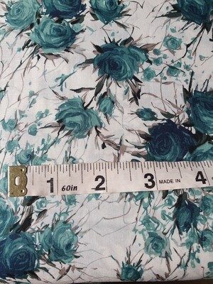 Pima Cotton Lawn - Teal Roses