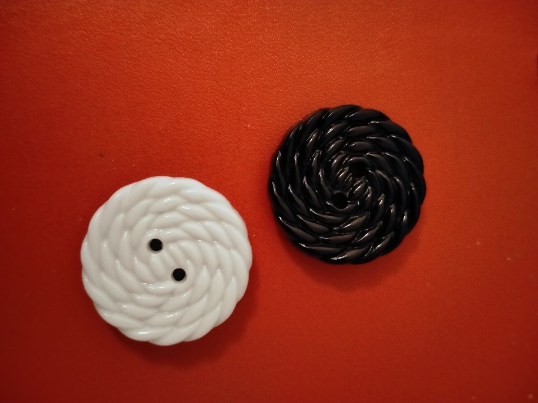 Fine Style button Size44 Black 28mm