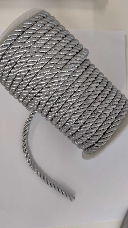Three strand plaited cord 7mm silver