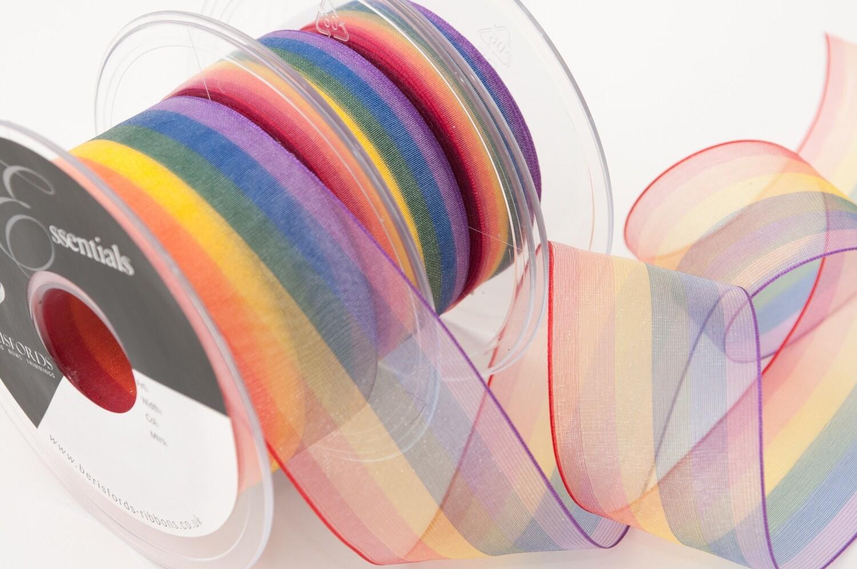 Sheer Ribbon 25mm Rainbow