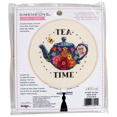 """Counted Cross Stitch Kit With Hoop: """"Tea Time"""""""