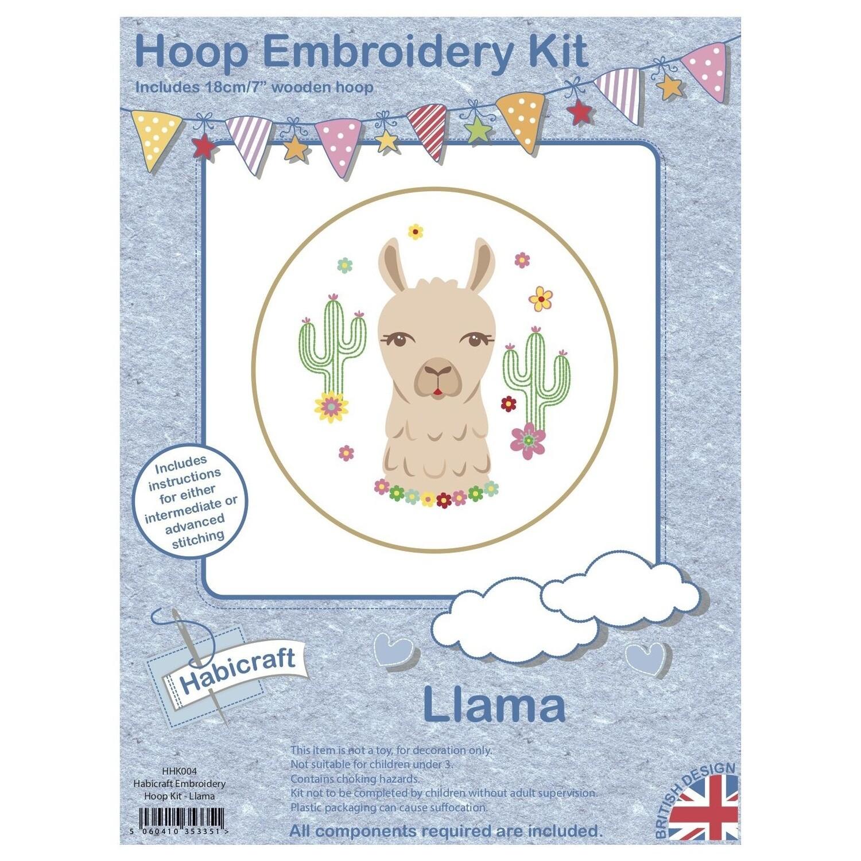 Llama Embroidery Kit 18cm Hoop