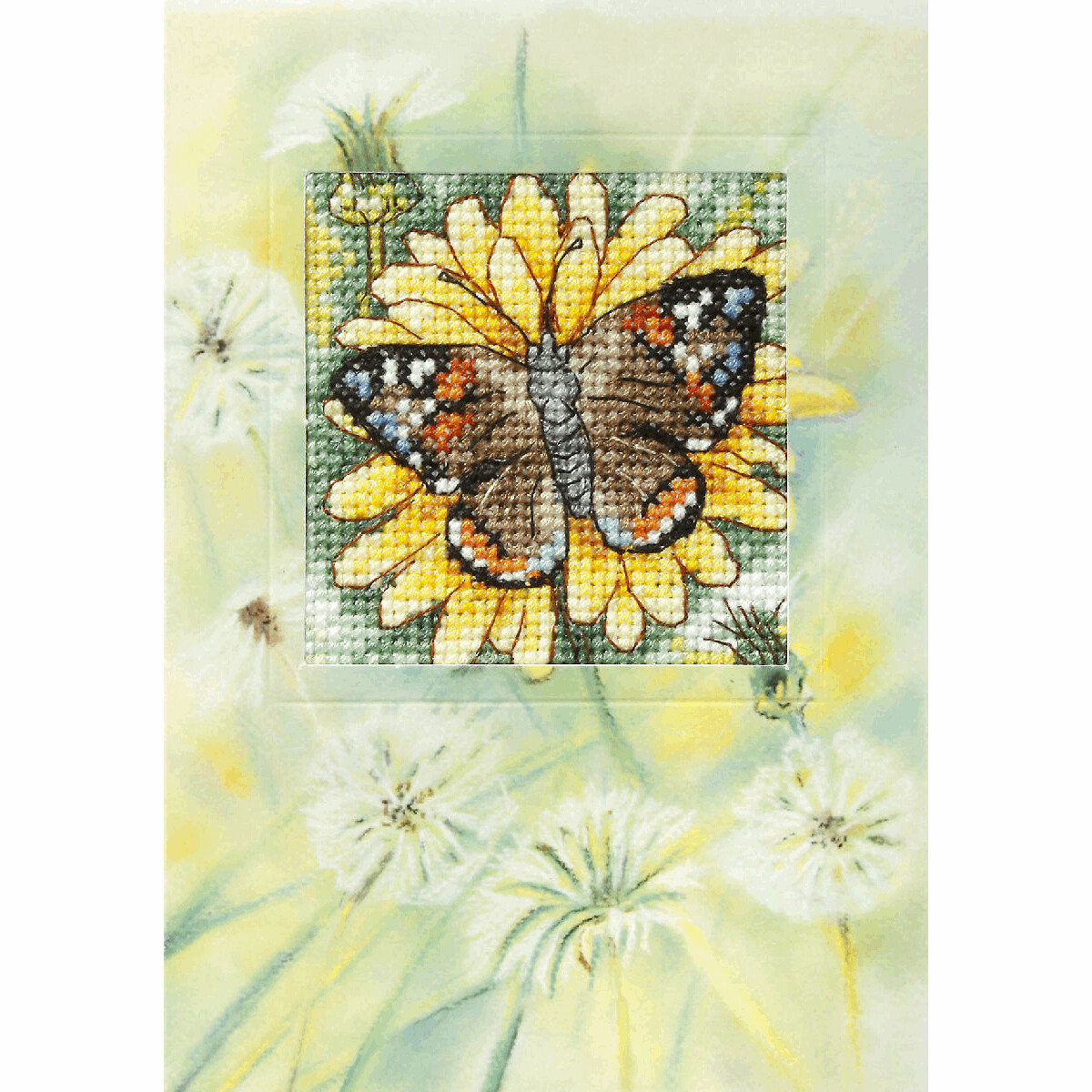 Counted Cross Stitch Kit Greetings Card: Butterfly and Sunflower