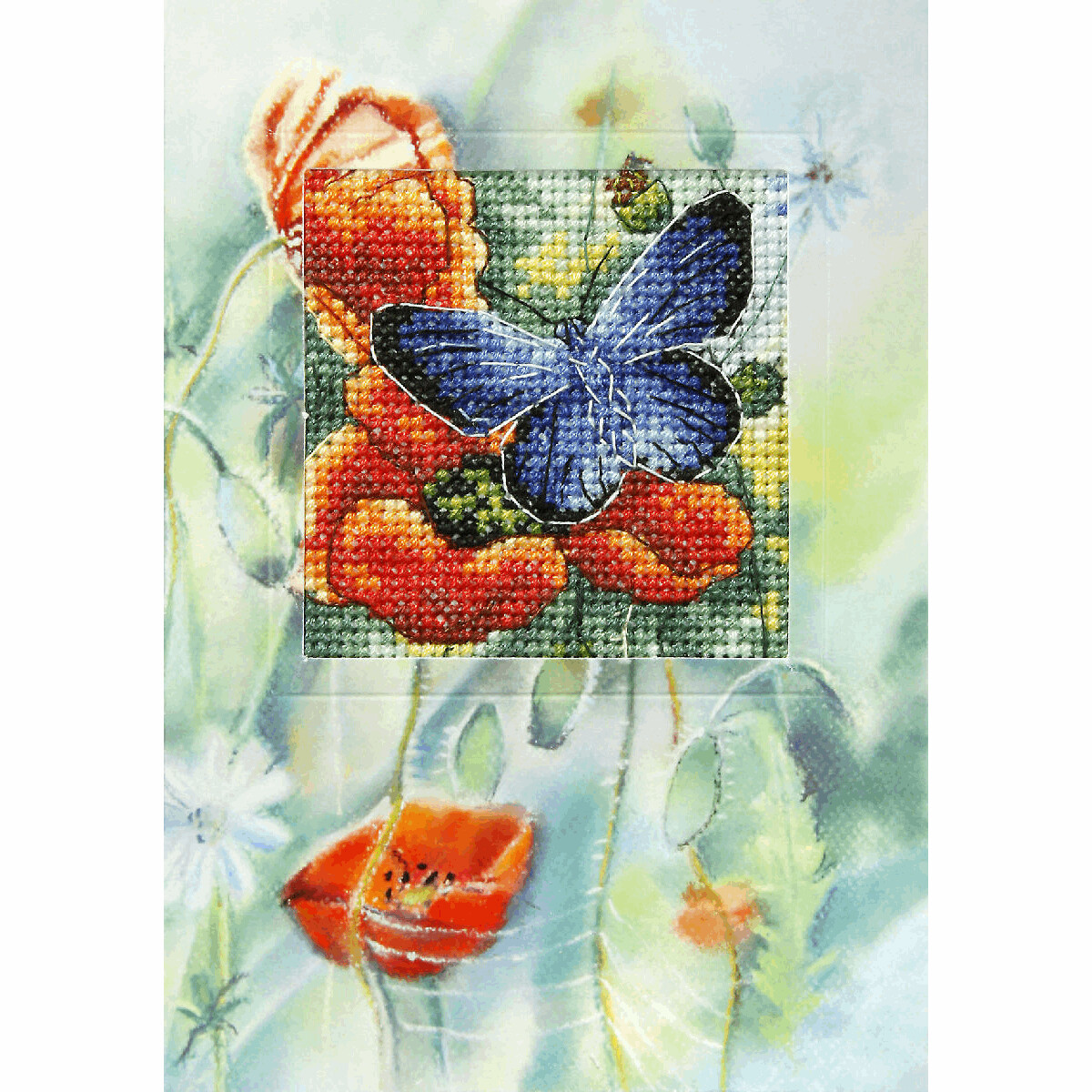 Counted Cross Stitch Kit Greetings Card: Butterfly and Poppies