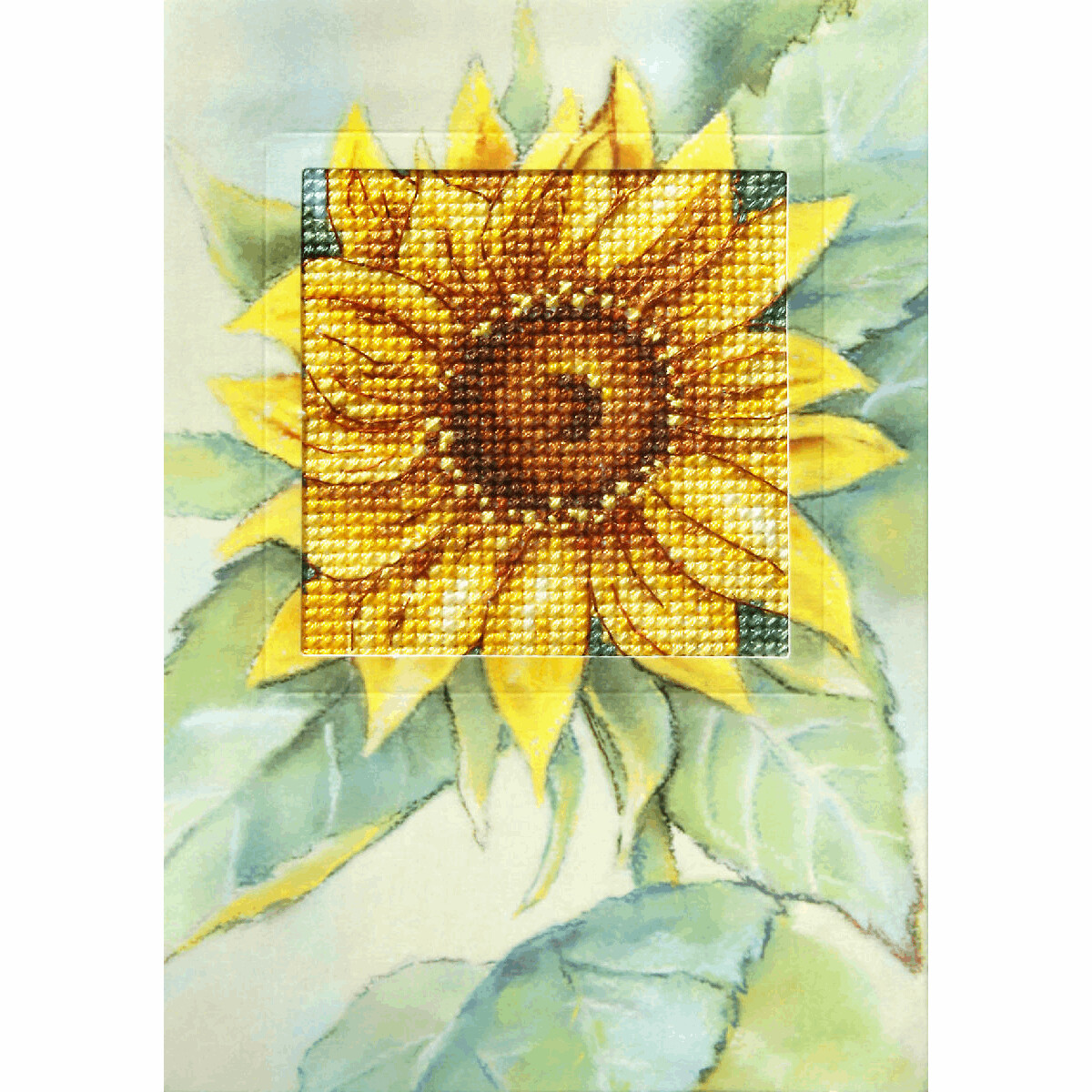 Counted Cross Stitch Kit Greetings Card: Sunflower