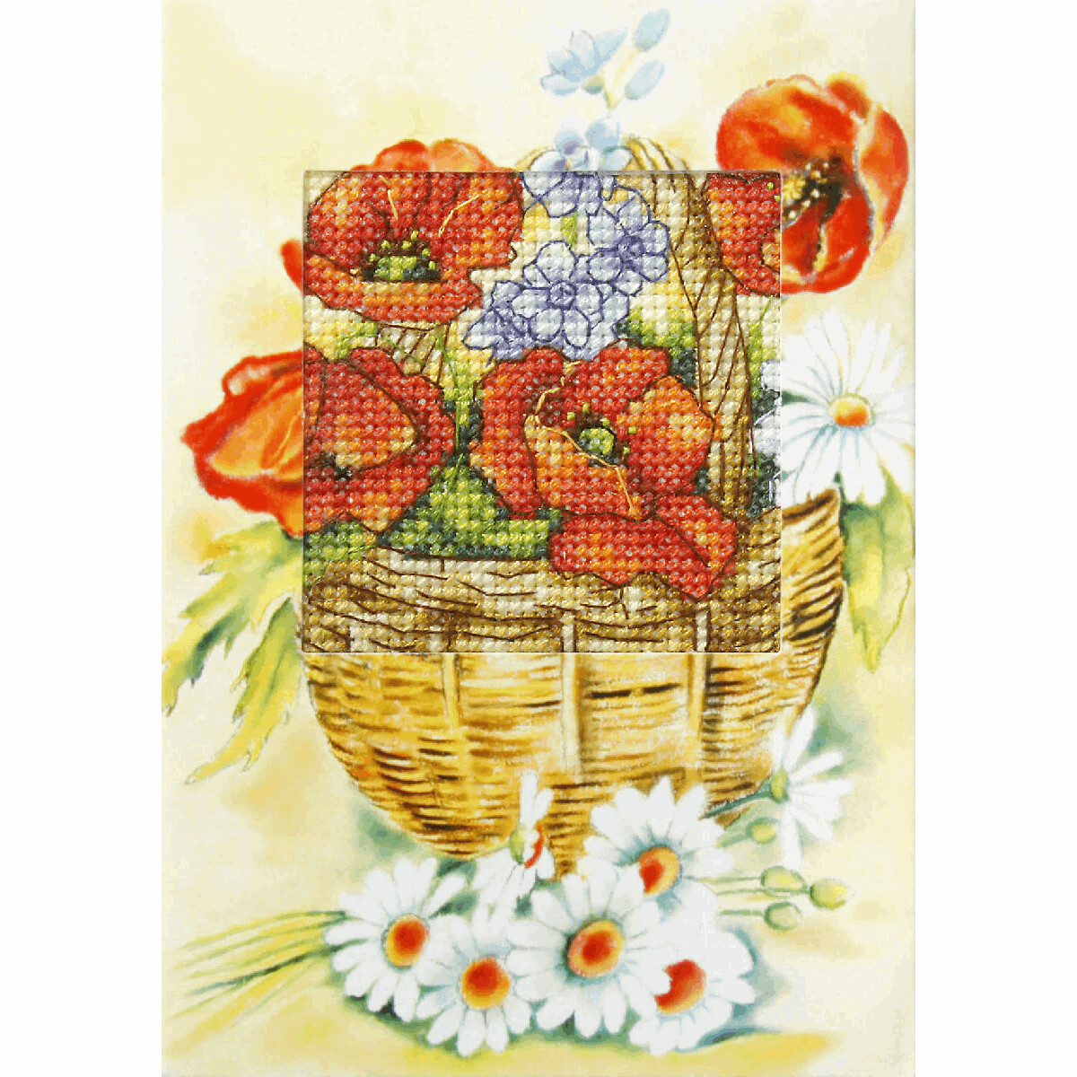 Counted Cross Stitch Kit Greetings Card: Daisies