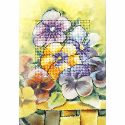 Counted Cross Stitch Kit Greetings Card: Pansies