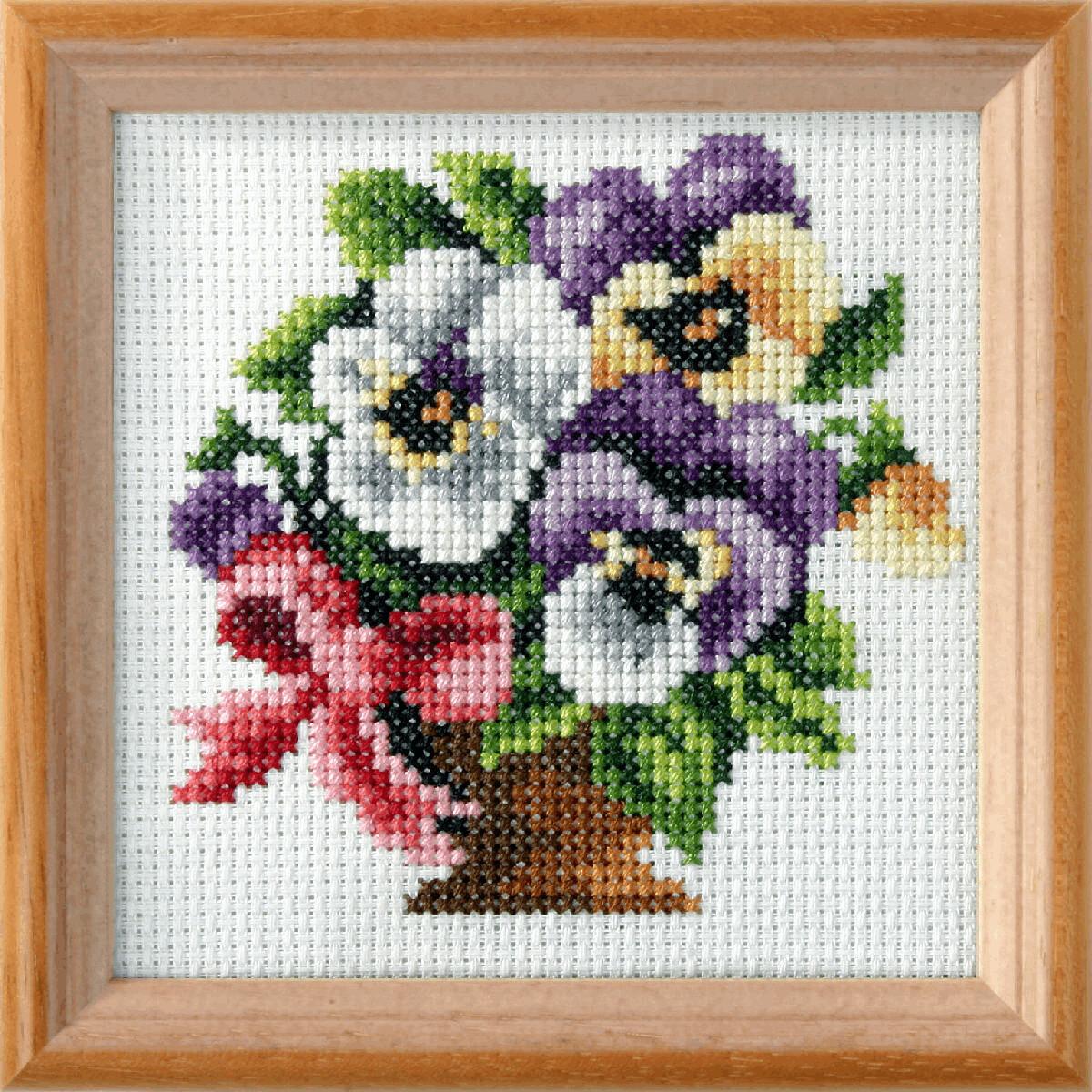 Cross Stitch Kit: Pansies