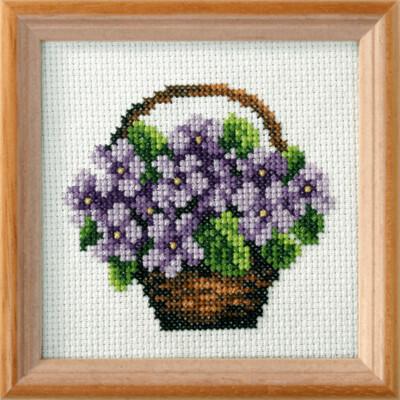 Cross Stitch Kit: Violets