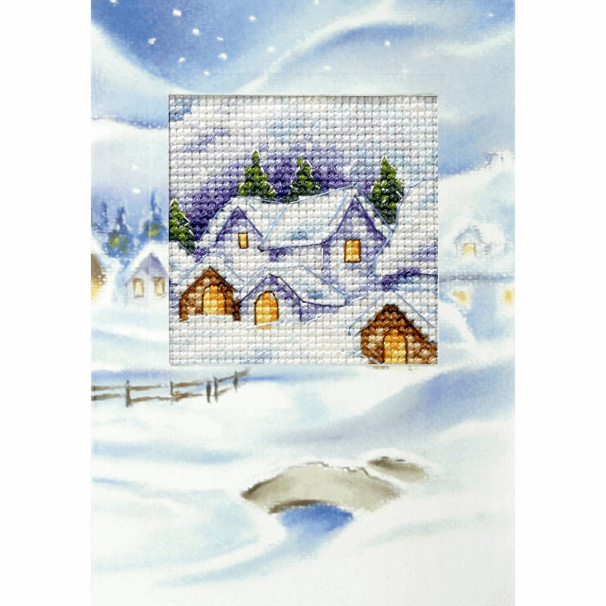 Counted Cross Stitch Kit Greetings Card: Christmas Village