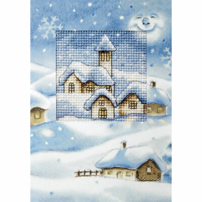 Counted Cross Stitch Kit Greetings Card: Christmas Church