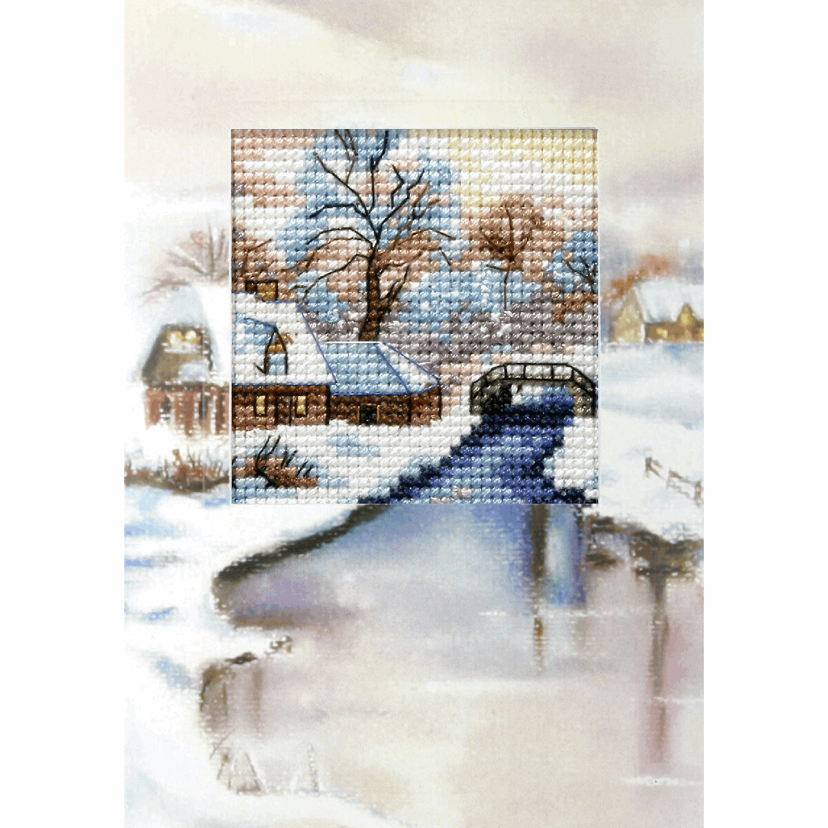 Counted Cross Stitch Kit Greetings Card: Winter River