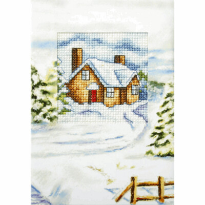 Counted Cross Stitch Kit Greetings Card: House in Winter