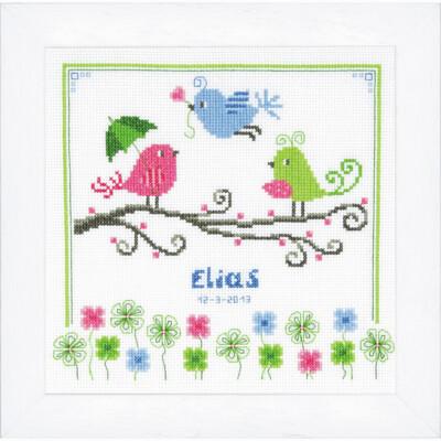 Counted Cross Stitch Kit: Birth Record: Birds