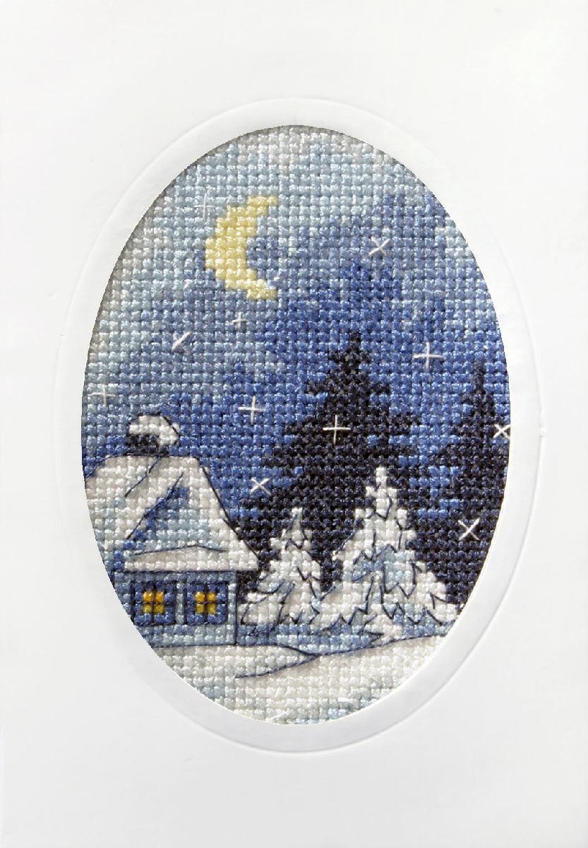 Counted Cross Stitch Kit Greetings Card: Twilight Winter Scene