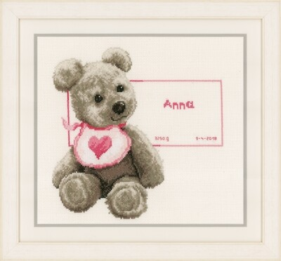 Counted Cross Stitch Kit: Birth Record: Bear with Bib - Cream Aida