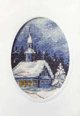 Counted Cross Stitch Kit Greetings Card: Twilight Church