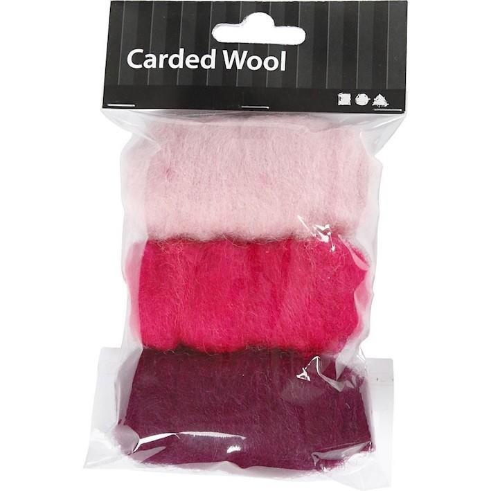 Needle felting Carded Wool Pink Harmony