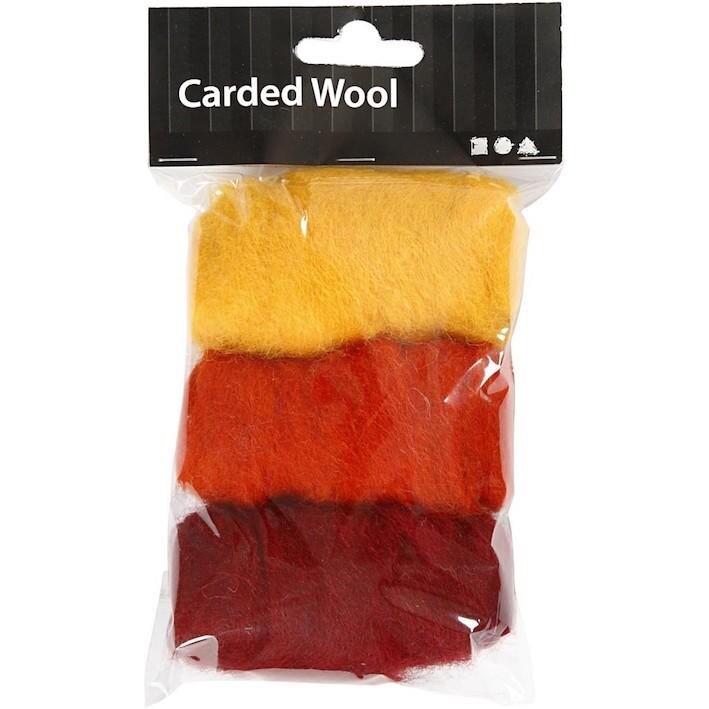 Needle felting Carded Wool Orange Harmony