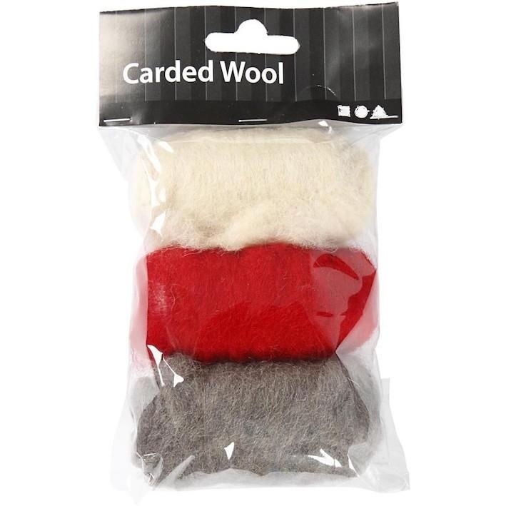 Needle felting Carded Wool Red Harmony
