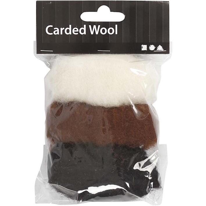 Needle felting Carded Wool Brown Harmony
