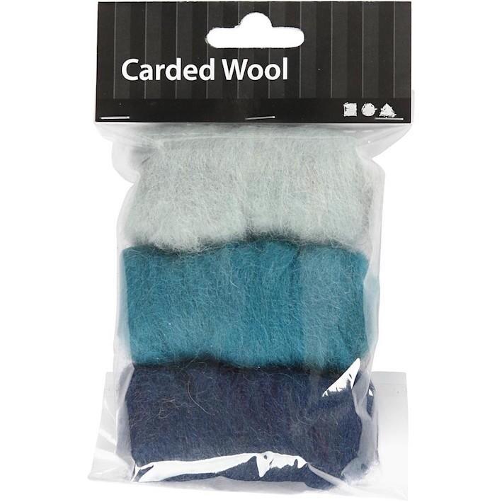 Needle felting Carded Wool Blue Harmony