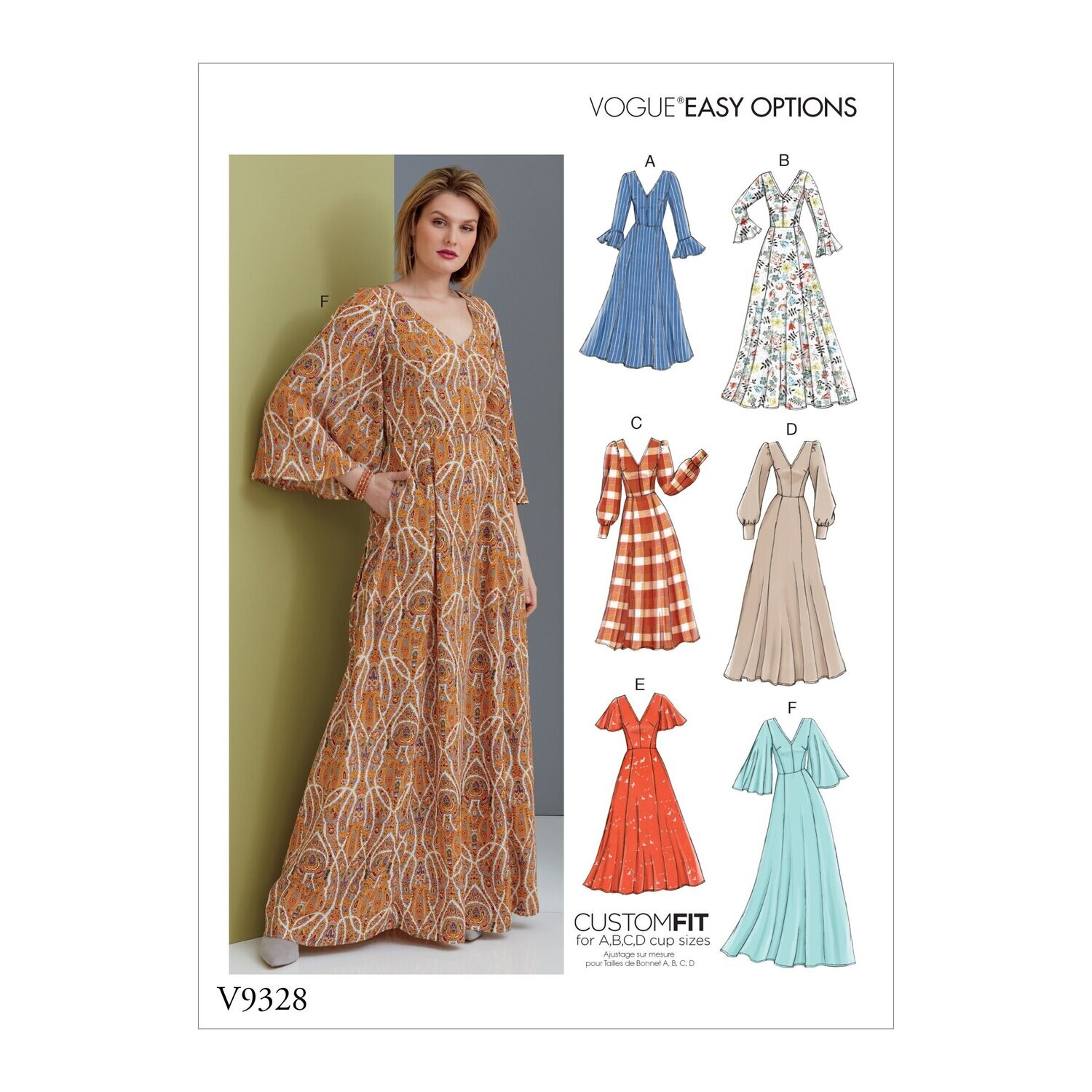 Vogue Easy Options Sewing Pattern V9328 A5 6-14