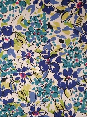 Edith -Cotton Poplin - multi blue