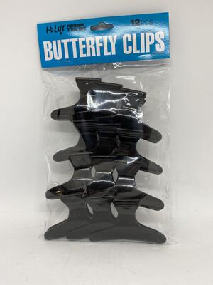 Hi Lift Butterfly Clips Black 12 pces