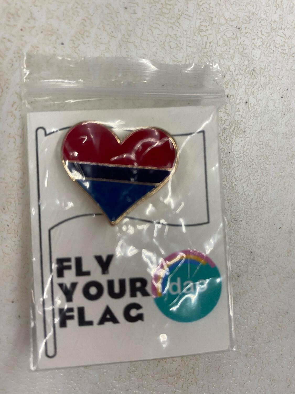 Bi Flag Heart - Enamel Pin