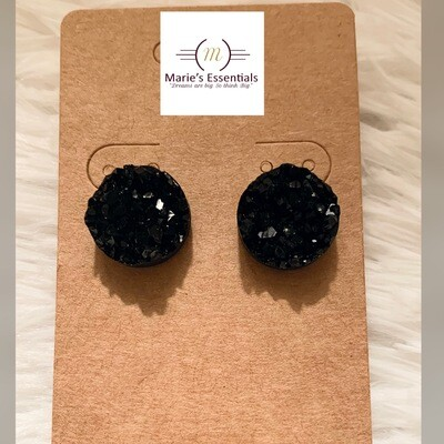 """ The Jets are Black"" Druzy Earrings (Large)"