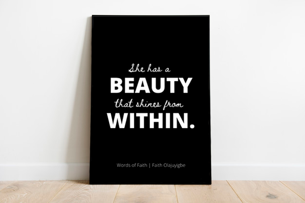 Beauty Within A3 Poster Print [Black, White or Peach]