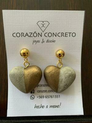 Aritos corazón bronce