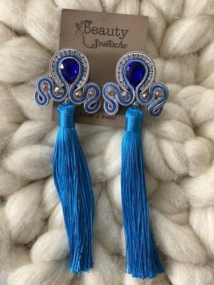 Aritos cristal y borla azul