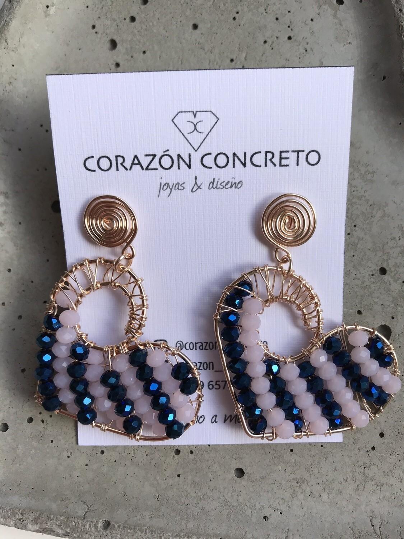 Aritos corazón cristal azul y rosado