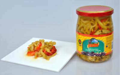 6/19oz jars of La Valle's Marinated Eggplant Strips
