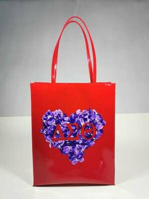 Tote Bag - Red Patent Violet Heart