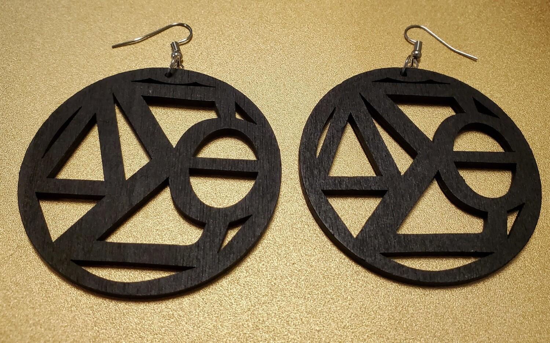 Wooden Symbol Earrings-Large